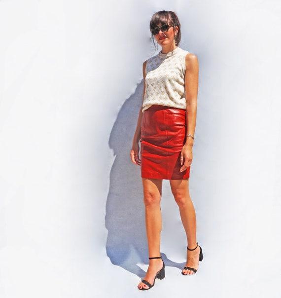 Vintage Red Leather Pencil Skirt, High Waist Knee