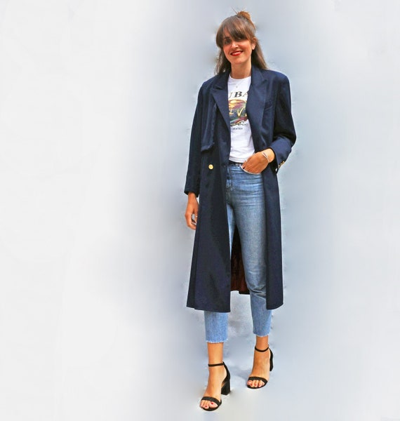 Navy Blue Pleated Womens Trench Coat