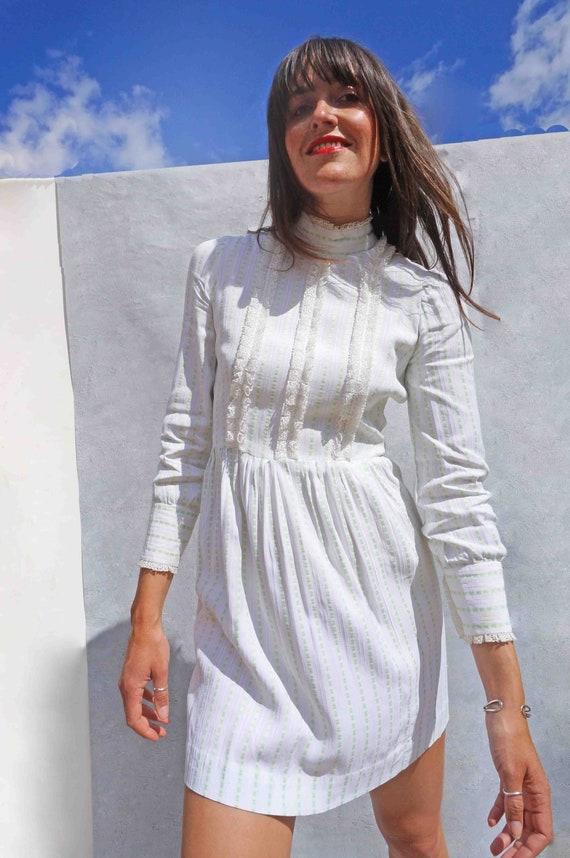 Vintage 1970s White Prairie Dress, Short Cottageco