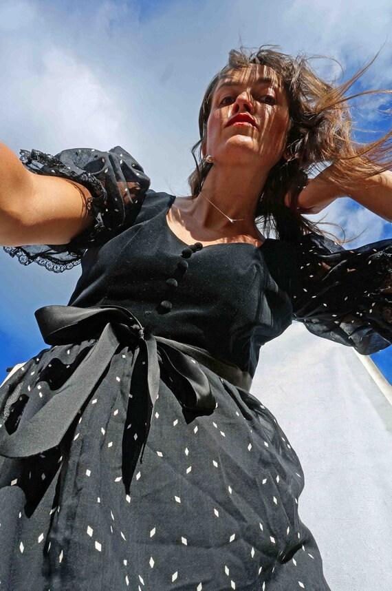Vintage Black Polka Dot Boho Prairie Dress, Puff S