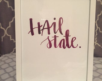 """Mississippi State """"Hail State"""" Watercolor Ink Lettering Photo"""