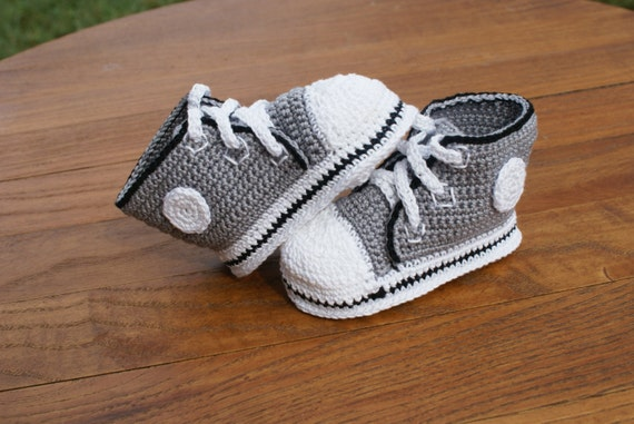 Grey With Black Trim Crochet Baby Converse Inspired Shoes Etsy