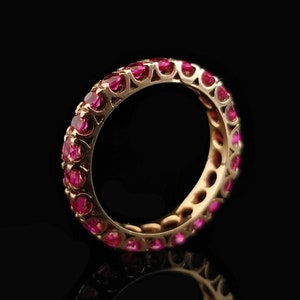 Yellow Gold Band 3.9mm Wide Prong Set Gemstone Pink Oval Gemstone Size 7 10k Ruby and Diamond Ring Estate Jewelry Oval 6mm Tall