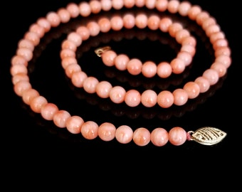 """Pink Angelskin Coral Necklace Bead Multi-Strand Toggle 18.5/"""" Handcrafted Jewelry"""