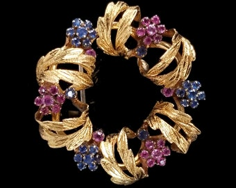 9d34c5d71 18k Signed Wreath Brooch, Sapphire and Ruby Flowers, 1940s - 50s, Toliro  Italy, Quality Vintage Estate Jewelry, 1 3/8 inches, 13.8 Grams