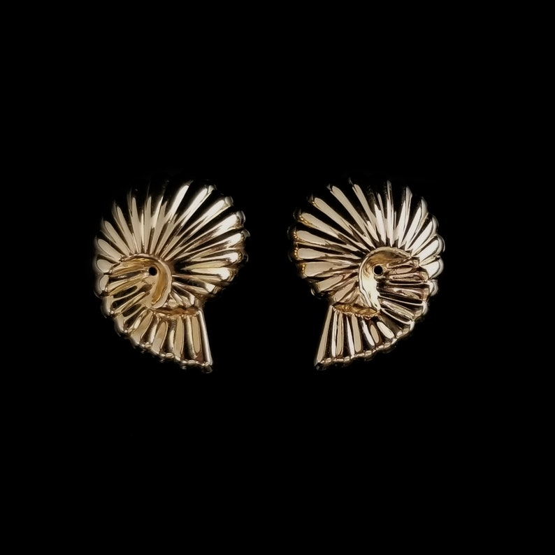 Minimal Estate Jewelry For Pierced Earring Posts 34 Inch Natural Design Modern Nautilus Shape 14k Spiral Shell Earrings Jackets