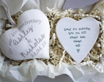 Personalised Fourth Wedding Anniversary Tea Light Holder 4th Gift Idea Linen