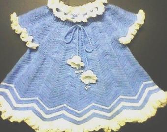 blue hand made crocheted dress for girl