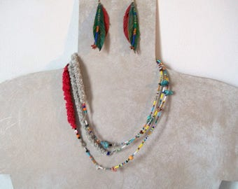 multicolored beads, and textile designer necklace