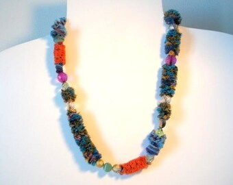 textile jewelry: turquoise and orange/piece of unique beads and textile necklace