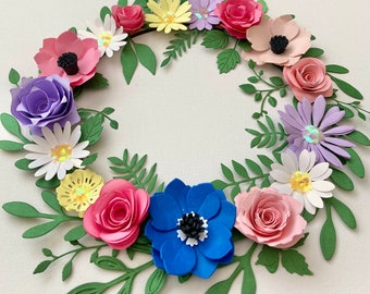 Floral hoop, flower circle, paper flowers, Birthday gift, home, wall decor