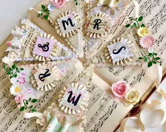 Luxury Mr & Mrs Wedding Bunting, garland, vintge style, wall art, roses and daisies, wedding decor