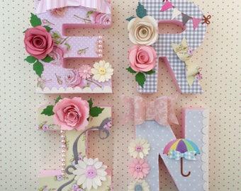 Nursery Letters for little girls, nursery wall art