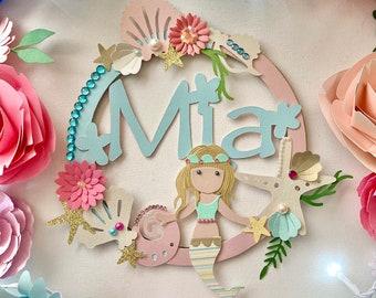 Mermaid hoops, personalised, little girls bedroom, nursery, gift