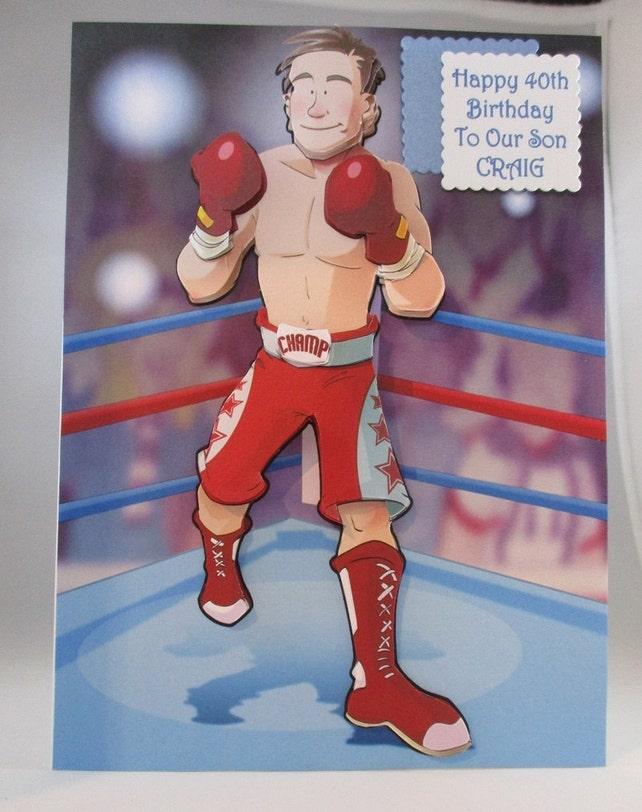 3D Boxer Geburtstagskarte personalisiert   Etsy