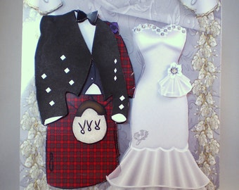 Handmade Scottish Decoupage,3D Wedding Card, tartan,kilt and dress