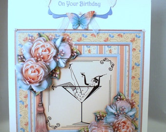 Decoupage Birthday Card, Champagne and flowers, Personalise