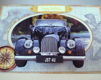 Handmade Decoupage,3D,Car Birthday Card, vintage,personalise