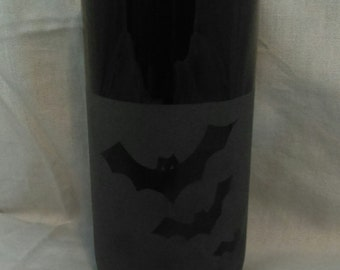 Bats//Glass// Etched// Drink//Black// Glass//Washable//Gothic//Display//Halloween