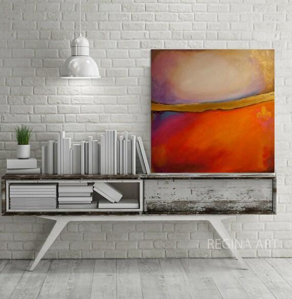 Décoration Murale Art Rouge Orange Peinture Acrylique Or Grande Toile Art Moderne Abstrait Coloré De Mur De Art 30 X 30 Mur Rouge De Peinture