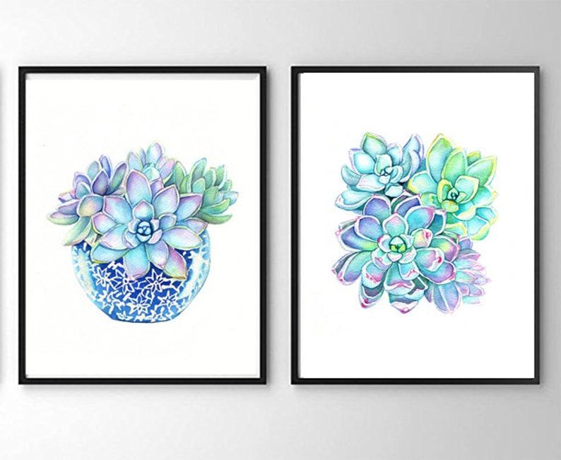Cactus Print Succulent Print Succulents Succulents in a Blue Vase Art Print Succulent Art Blue Green Wall Art