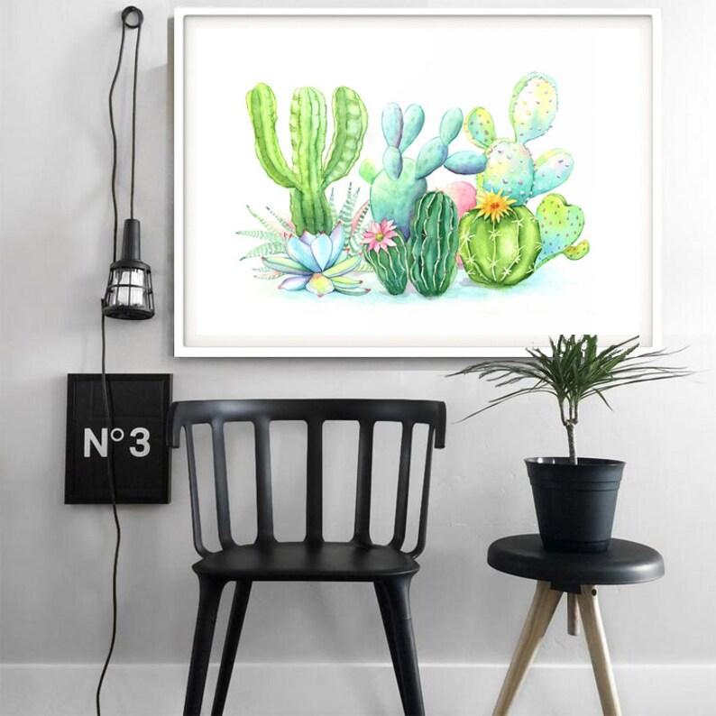 Tropical Poster Cactus Print Printable Art Cactus Digital Prints Cactus Wall Art Cactus Decor Green Plant Watercolor Painting