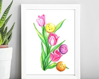 Watercolor Flowers Colorful Print of Tulips and Macarons Painting Floral Print Tulips Watercolor Painting 5x7 8x10 Art Print Nursery Decor