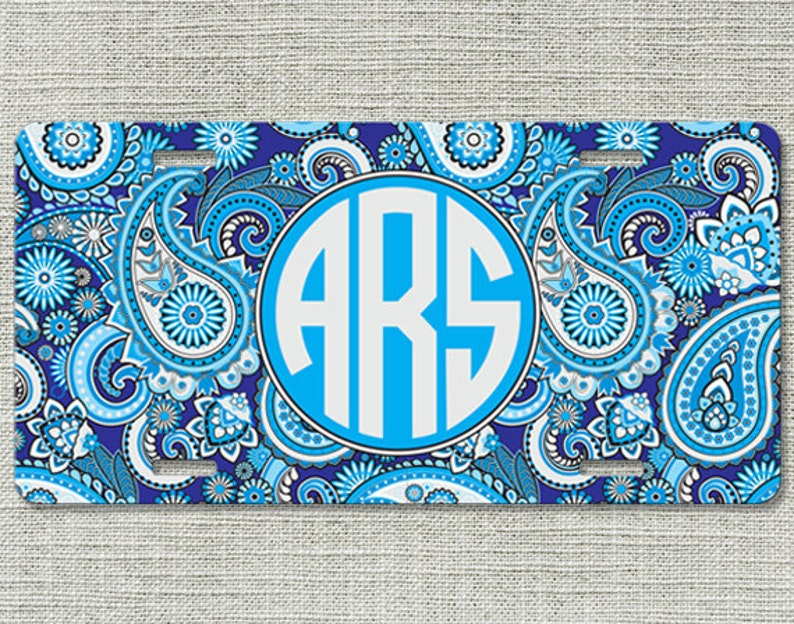 Paisley Chevron Personalize Monogrammed License Plate Car Tag Initials Custom