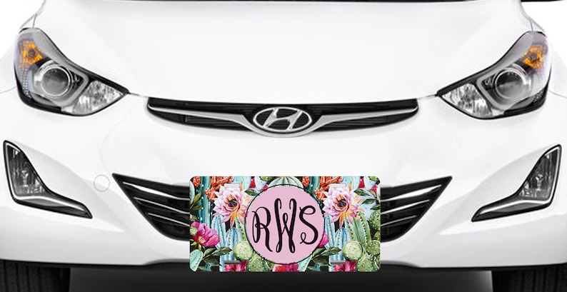 Monogrammed Car Tag Floral Cactus Personalized Front License Plate 9379