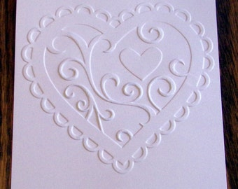 VALENTINE HEART Embossed Card Stock Panels Perfect for Scrapbooking and Card Making - Set of 12