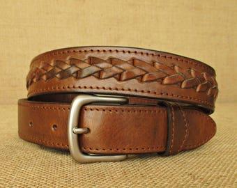 handmade braided leather belt, mens belt with braiding, womens belt, double layered, custom size