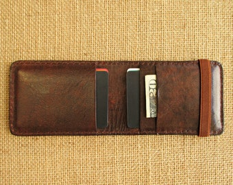 Leather credit card holder, handmade minimalist wallet, thin wallet with elastic band, slim