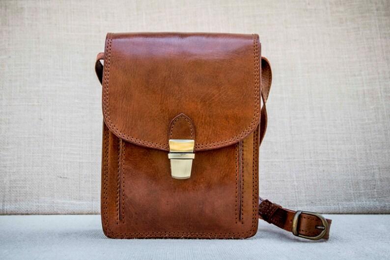 Handmade unisex small messenger bag in cognac leather ipad mini bag cross body satchel