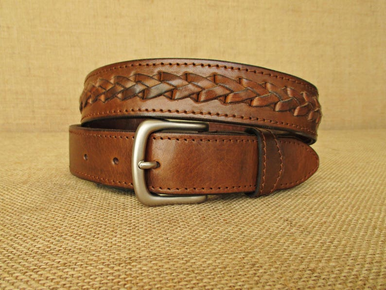 Handmade Braided Leather Belt Mens Belt With Braiding Womens Etsy