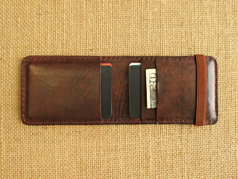 Leather credit card holder handmade minimalist wallet thin image 0