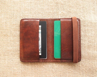 Leather credit card holder, minimalist wallet, thin wallet, slim wallet, with elastic band