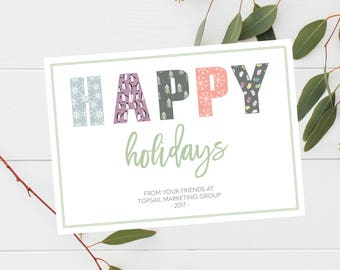 Business Happy Holidays Card, Winter Client Thank You Card, Corporate Holiday, Simple Holiday Card