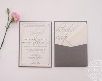 Pocket Wedding Invitation Grey and Blush Wedding Invite | SAMPLE INVITE