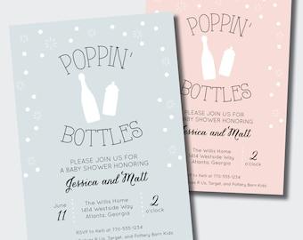 Couples baby shower etsy poppin bottles baby shower invitation couples baby shower filmwisefo