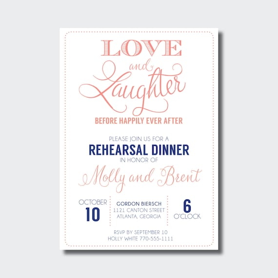 659f657d8ba Rehearsal Dinner Invitation Love and Laughter Before Happily