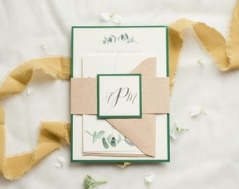 Eucalyptus Wedding Invitation Natural Rustic Greenery Suite Kraft Paper Bundle Invite Spring Garden Wedding DEPOSIT