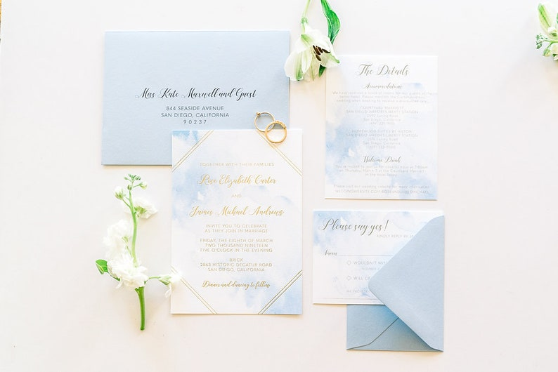 Gold Foil Watercolor Wedding Invitation Suite SAMPLE image 0