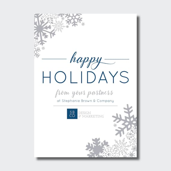 happy holidays business card corporate winter holiday