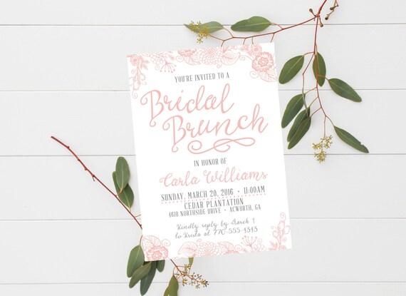 bridal brunch invitation bridesmaid luncheon invite etsy