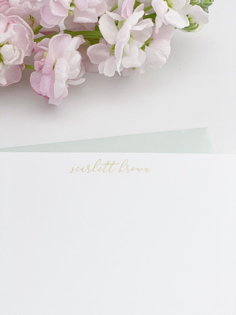 Gold Foil Stationery Personalized Notecards Custom Thank You Cards Gold Wedding Notecards