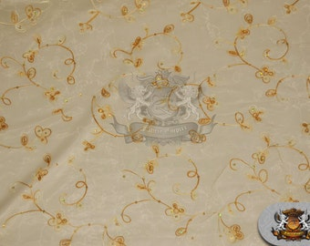 """Organza Floral Dahlia Fabric GOLD / 60"""" Wide / Sold by the yard"""