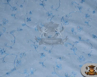 """Organza Floral Dahlia Fabric BABY BLUE / 60"""" Wide / Sold by the yard"""