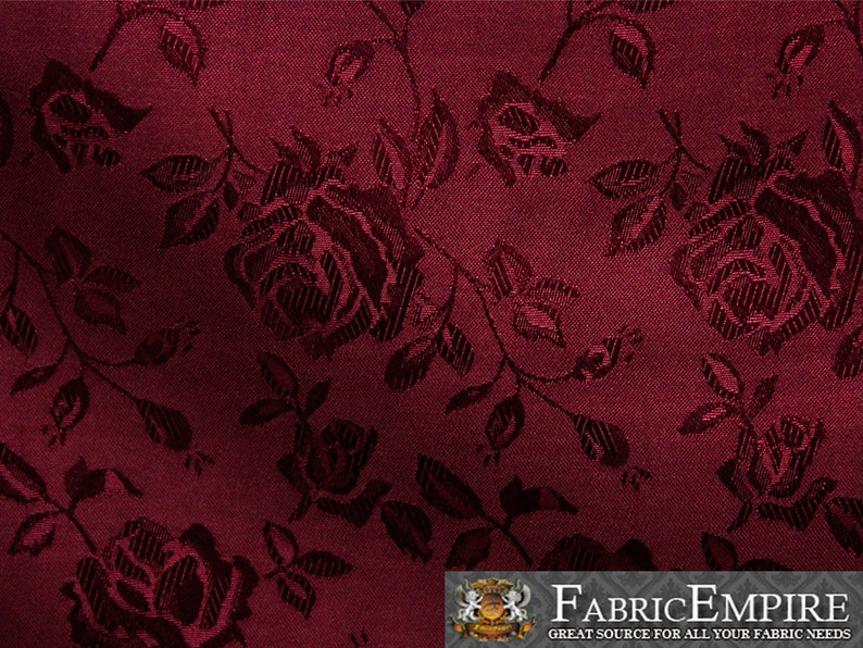 """Satin Floral Jacquard Fabric PINK 60/"""" Wide Sold by the yard"""
