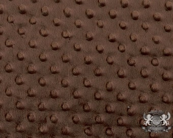 """Minky DIMPLE DOT Brown Fabric / 58"""" Wide / Sold By the yard"""