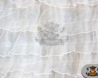 "Organza Ruffle Mesh Fabric WHITE / 54"" Wide / Sold by the yard"